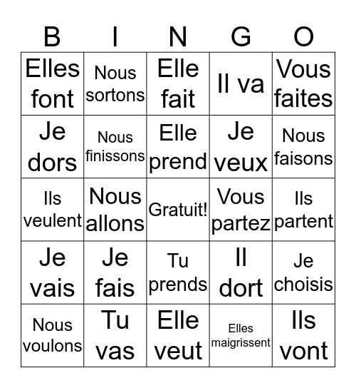 French 1 Verb Review! Bingo Card