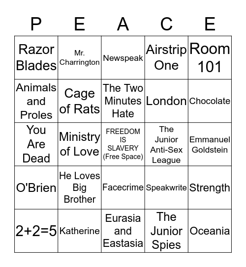 1984 by George Orwell  Bingo Card