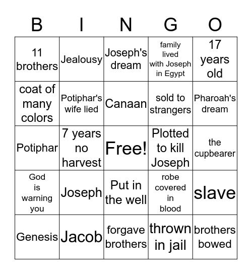 Joseph and the coat of many colors Bingo Card