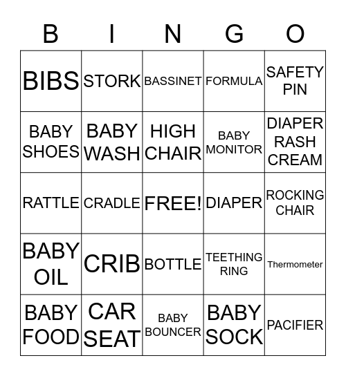 Gi-Gi Baby Shower BINGO Card