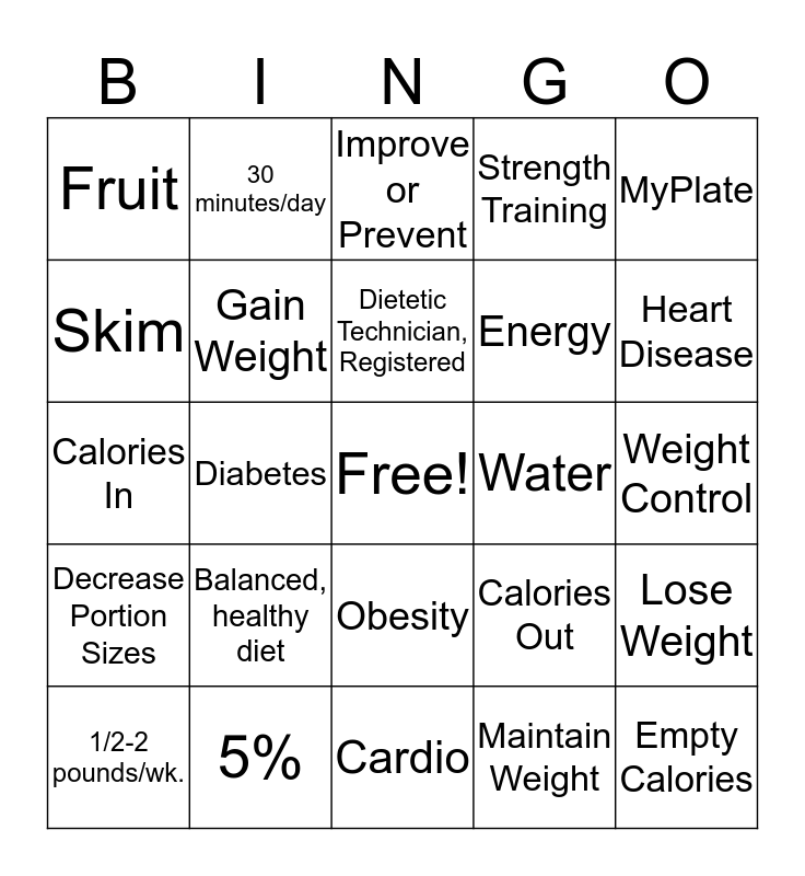 Exercise, Nutrition, & Weight Loss Bingo Card