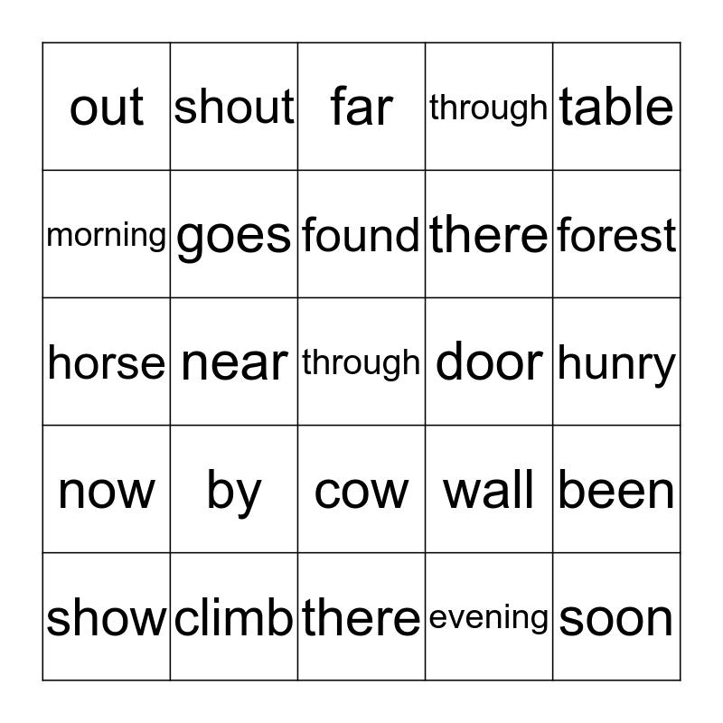 High Frequency Words Bingo Card
