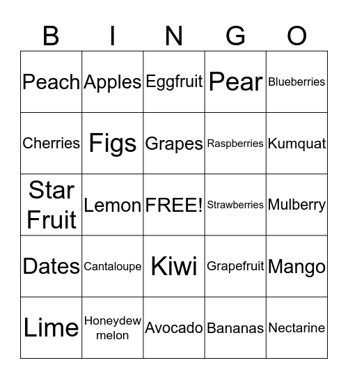NUTRITION!!!  Bingo Card