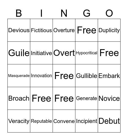 English 1CP lesson 9 & 10 Bingo Card