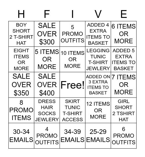 STORE 403 HI-FIVE CHALLENGE Bingo Card