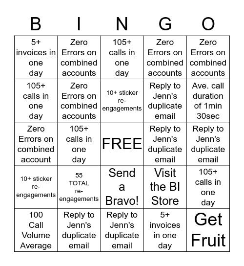 FSR Bingo! Bingo Card