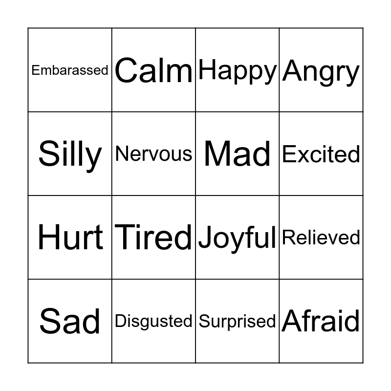 Facial Expression Bingo Card