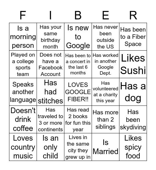 Fiber Bingo!!  Bingo Card