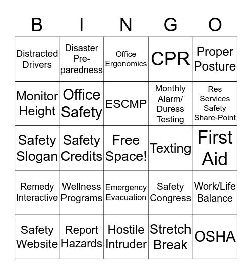 Branch Office Safety Bingo Card