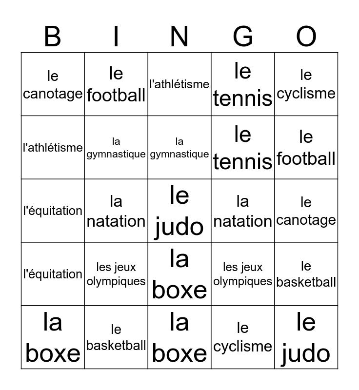 LES SPORTS Bingo Card