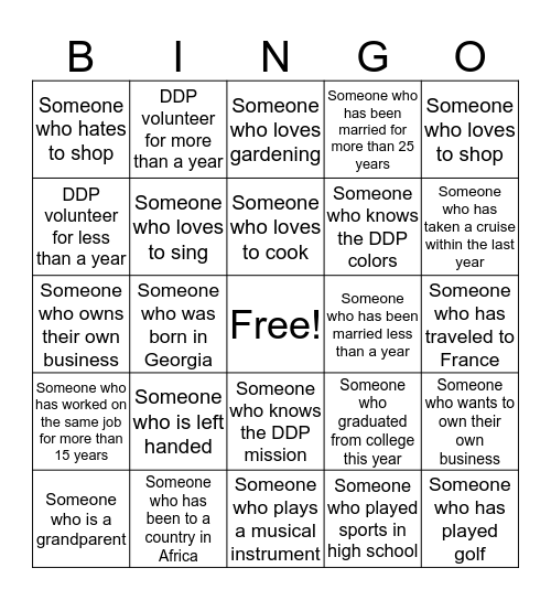 DDP Volunteer Appreciation Bingo Card