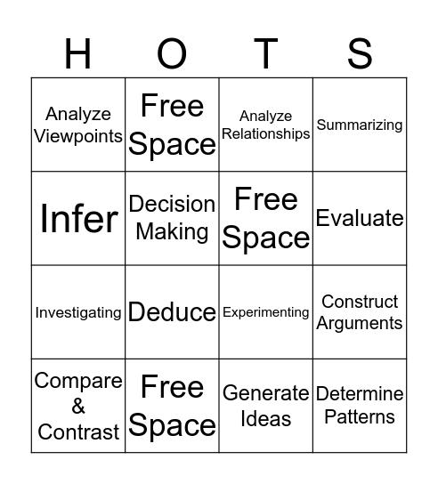Bingo - Higher Order Thinking Strategies  Bingo Card