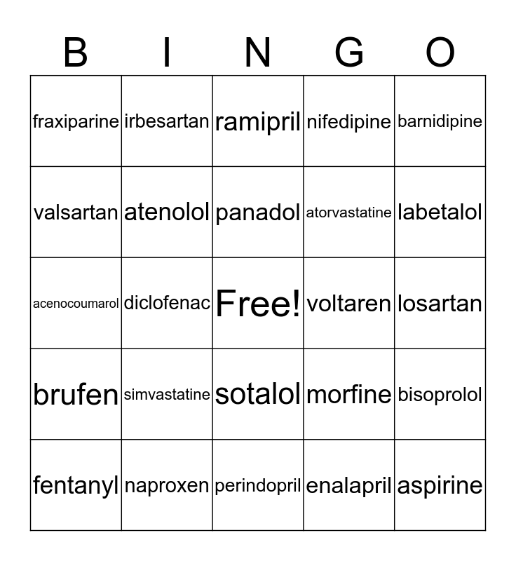 MEDICIJNLEER Bingo Card
