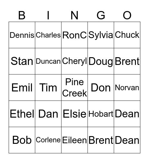 Pine Creek Bingo Card