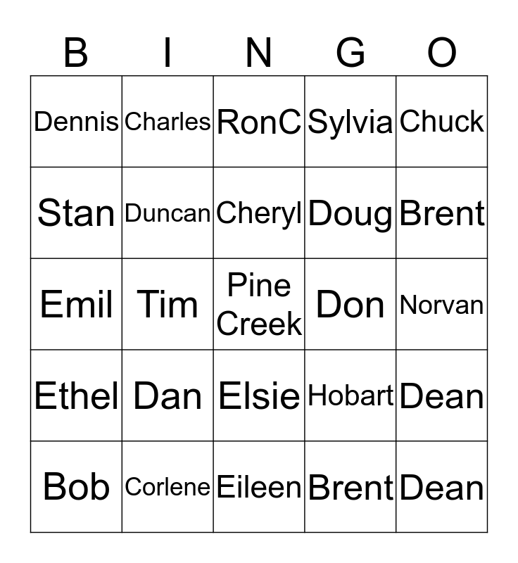 Pine Creek Bingo Card