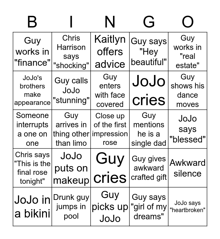 First Night of Bachelorette Bingo Card