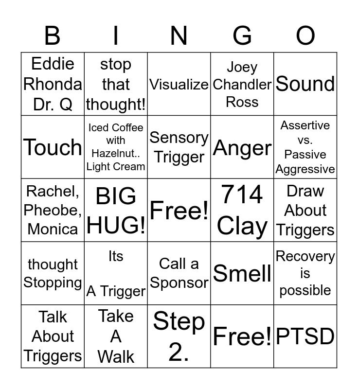 Relapse Prevention Bingo Card