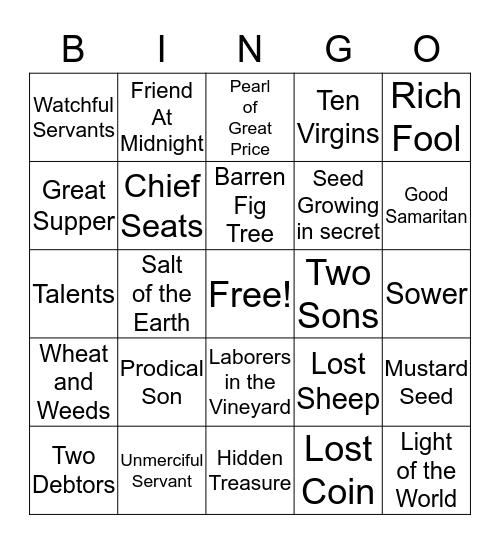 Parable Bingo Card
