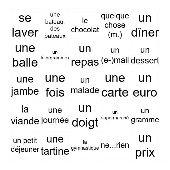 unité 25-28 Bingo Card