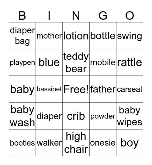 Lacee's Baby Shower Bingo Card