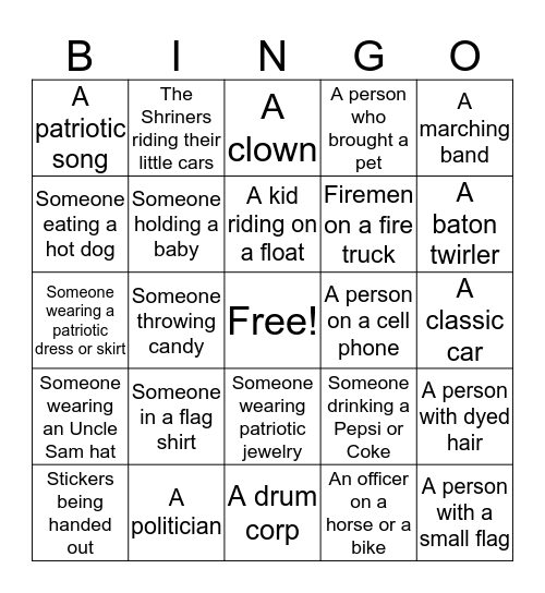 Parade Bingo Card