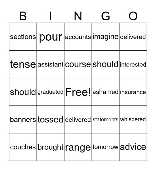 SRA Bingo Card