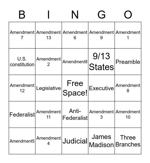 The Constitution Bingo Card
