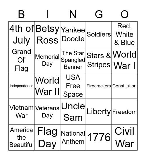 Patriotic Bingo Card