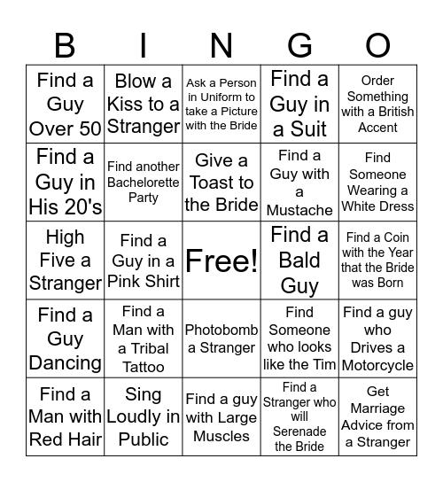 Crystal's Bachelorette Bingo Card