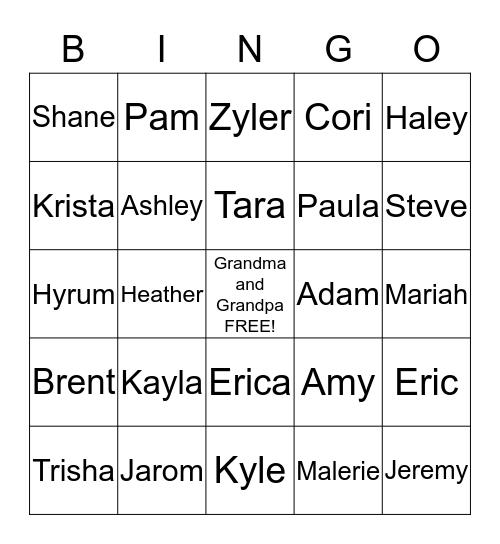 Gunderson Bingo Card