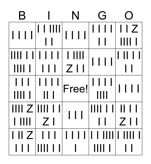 RHYTHM Bingo Card