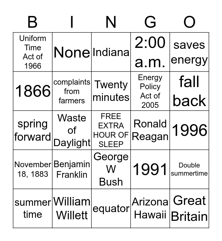 DAYLIGHT SAVING TIME BINGO Card