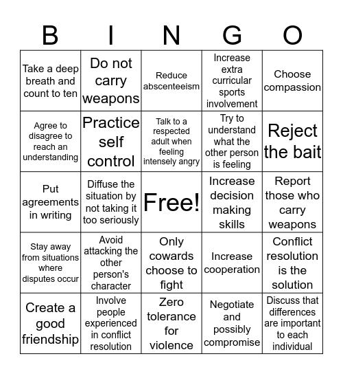 Conflict Bingo Card