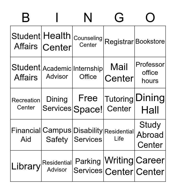 Campus Services Bingo Card