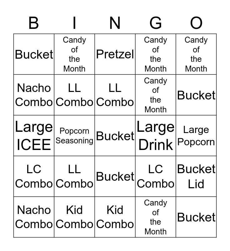 Concession Bingo Card