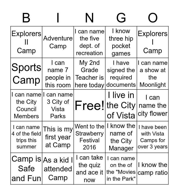 Summer Camp 2016 Bingo Card