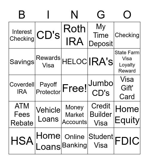 STATE FARM BANK BINGO Card