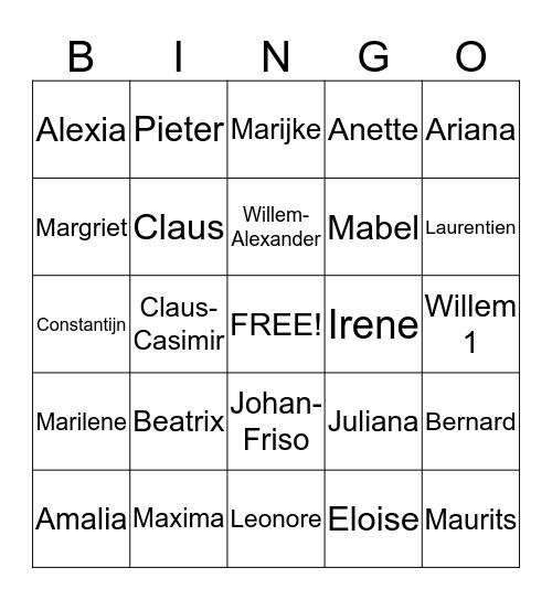 Koninklijke Bingo Card