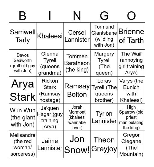 Game of Thrones Death Bingo Card