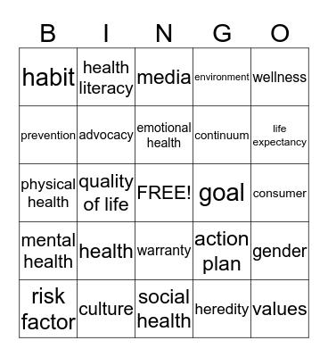 Making Healthy Decisions Bingo Card