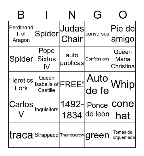 SPANISH INQUISITION Bingo Card