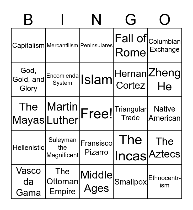 Global 9R The Americas & Age of Exploration Bingo Card