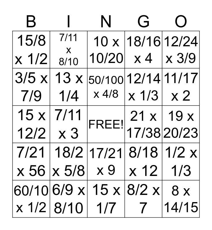 MULTIPLYING FRACTIONS! Bingo Card