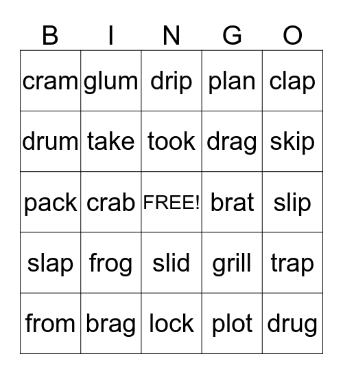 Spelling Bingo Card