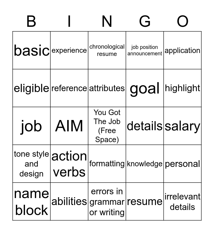 Resumes and Letters of Application Bingo Card