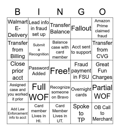 ChargeBack Bingo Card