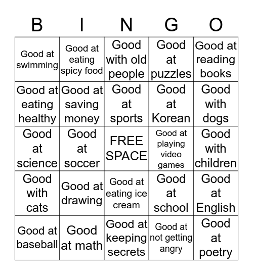 What are you good at?  Bingo Card