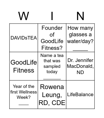Wellness Day 2016 Bingo Card