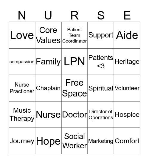 HOSPICE BINGO  Bingo Card