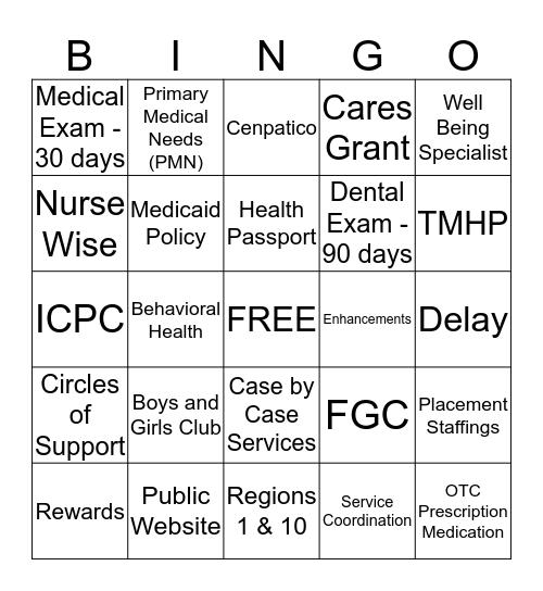 Well Being Specialist Bingo Card